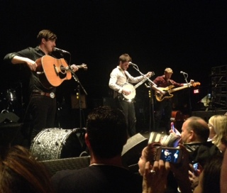Mumford and Sons playing a private show that my friend went to the night before the big show at the Garden. These are her photos.