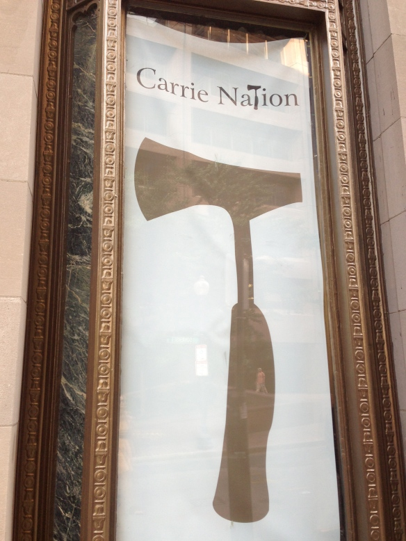 The Hatchet Heralding My Arrival to Carrie Nation Cocktail Club on Beacon Hill in Boston