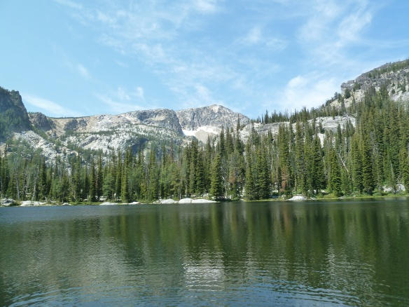 The beautiful lake with Trapper Peak in the background
